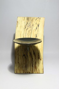 Kerzenhalter Holz Stahl Kerze Vorderseite
