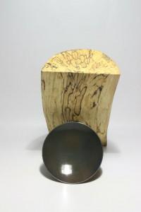 Kerzenhalter Holz Stahl Kerze Aufsicht
